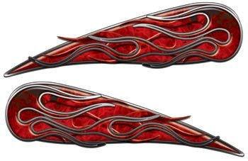 Red Inferno Motorcycle Gas Tank Flame Decals