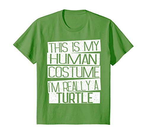 Kids This Is My Human Costume I'm Really A Turtle T-Shirt 12 Grass