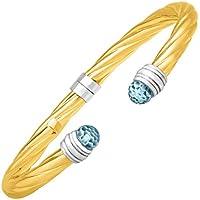 Finecraft Sky Blue Topaz Cuff Bracelet in Sterling Silver & 14K Yellow Gold