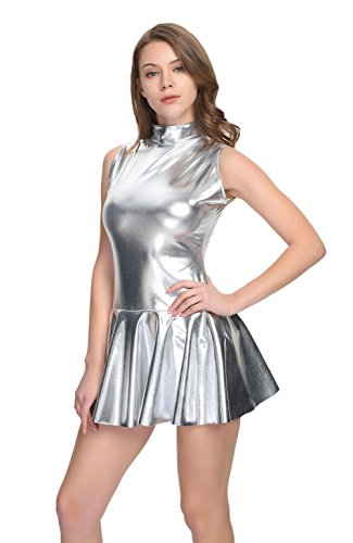 (WOLF UNITARD Shiny Club Dress Sleeveless Metallic Dresses for Women XX-Large)