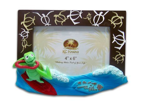 Honu Surfer Picture Frame 4 X 6 by KC Hawaii by KC Hawaii