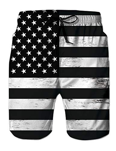 (Belovecol Plus Size Hipster Novelty 3D Print Graphic Active Colorful USA Flag Board Shorts XXL)