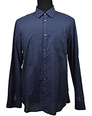 Calvin Klein Men's Black Blue Tans Ref Plaid Button Down Shirt Large