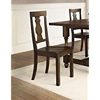 All Purposed Better Homes and Gardens Providence Wood Chair, Brown, Set of 2