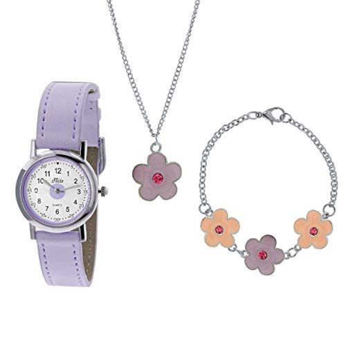 Relda Kids Lilac Flower Jewellery Watch, Necklace, Bracelet Girls Gift Set REL26 from Relda