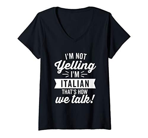 Womens I'm Not Yelling I'm Italian Vintage Humor White Text V-Neck T-Shirt