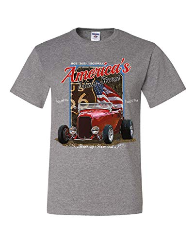 Route 66 Hot Rod - Hot Rod Highway Route 66 T-Shirt America's Main Street Vintage Tee Shirt Gray XL