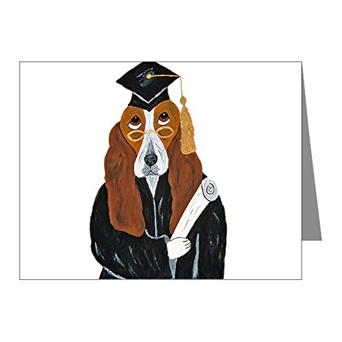 CafePress - Basset Hound Graduate Note Cards (Pk of 20) - Blank Note Cards (Pack of 20) Glossy