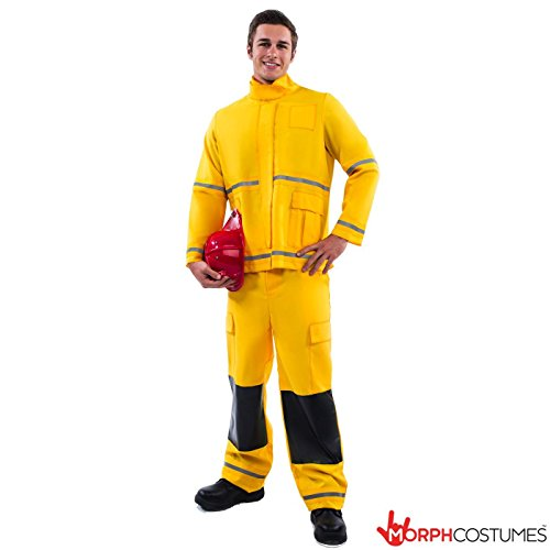 [Mens Fireman Emergency Services Uniform Fancy Dress Costume - Std Or XL Sizes] (Emergency Services Fancy Dress Costumes)