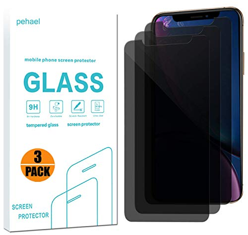 Protector Privacy Pack Screen - pehael Privacy Screen Protector for iPhone Xr, 9H Hardness Anty- Spy Tempered Glass, 3D Touch, Easy Install[6.1 inch](3 Pack)