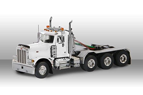 Peterbilt Day Cab (Peterbilt 379 8X4 4 Axle Tractor Day Cab White 1/50 Diecast Model by WSI Models 33-2014)