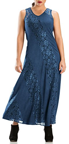HolyClothing Margot Sleek Bias-Cut Lace Dress - 2X-Large - Blue (Divine Lace Dress)