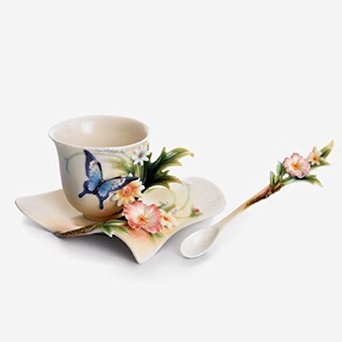 Franz Fluttering Beauty Flower and Butterfly Design Sculptured Porcelain Cup Saucer and Spoon Set