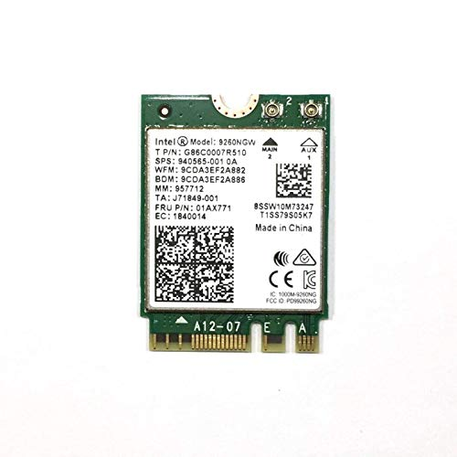 Dual Band Wireless- AC 9260NGW NGFF Wifi Card M.2 NGFF 2.4/5GHz(160Mhz) Bluetooth 5.0 Wireless WiFi Card 1.73Gbps