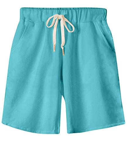 (HOW'ON Women's Soft Knit Elastic Waist Jersey Casual Bermuda Shorts with Drawstring SkyBlue XL)