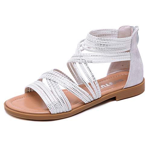 Summer Shoes for Women, ❤️ FAPIZI Low Flat Heel Flip Flops Beach Shoes Casual Retro Roma Flat Cross Tie Zipper Sandals White ()
