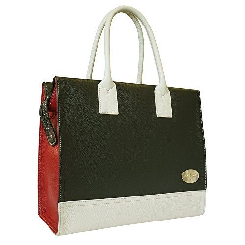Carbotti pelle di design a 3 colori quadrati borse tote - nero