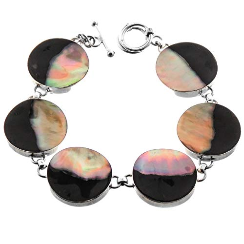 (BROWNLIP Mother of Pearl Shell 925 Sterling Silver Bracelet YE-1104)