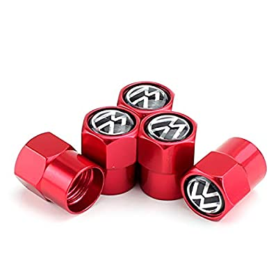 TK-KLZ 5Pcs Metal Car Tires Valve Stem Caps for All Model Volkswagen VW CC Tiguan Jetta Golf MAGOTAN Polo Santana Beetle Phaeton Decorative Accessory (Red): Automotive [5Bkhe1004670]