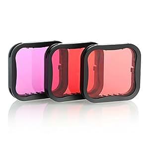 Amazon.com: Pack de 3 filtros de buceo para GoPro Hero 5 6 7 ...