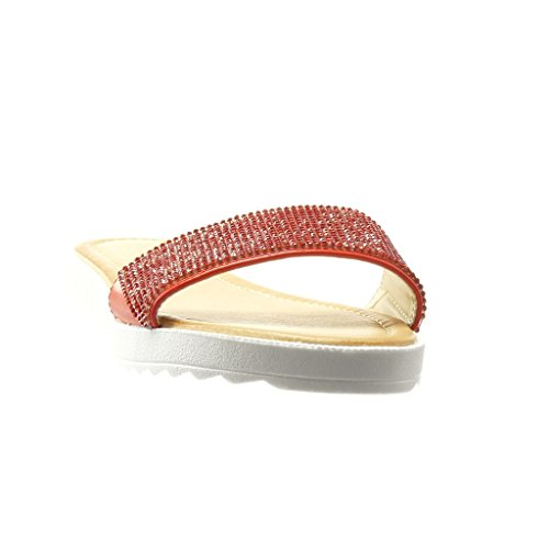 Angkorly - Chaussure Mode Sandale femme strass diamant Talon plat 2 CM - Rouge