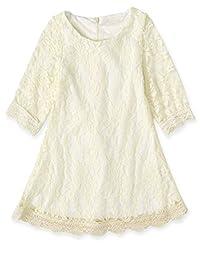 Cotton Lace Flower Girl Dress-VYU Princess 3/4 Sleeve Mini Dress Age2-16