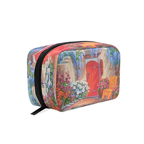 ALAZA Gouache Yard Cosmetic Bag Black Zipper Storage Bag Por