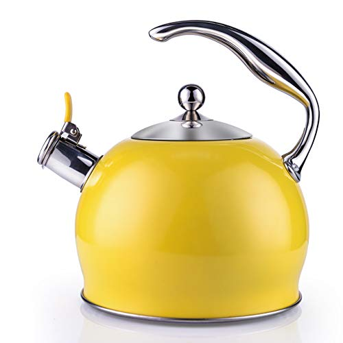 Tea Kettle Best 3 Quart induction Modern Stainless Steel Surgical Whistling Teapot -Tea Pot For Stove Top (3L, Yellow) ()