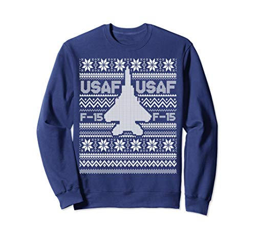 F-15 USA Ugly Christmas Sweater fighter jet usaf pilot, crew