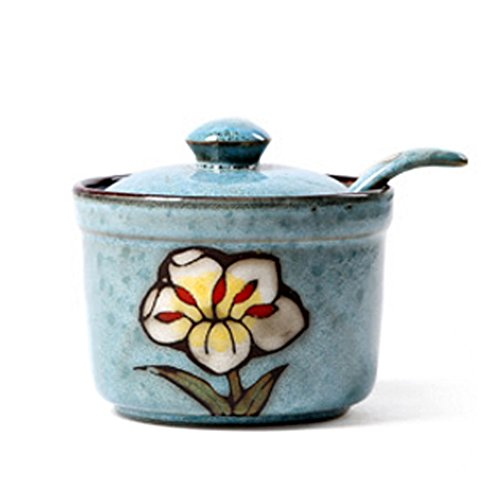 Ceramics Retro Flower Sugar Bowl with Lid and Spoon 5.5 Ounces Blue