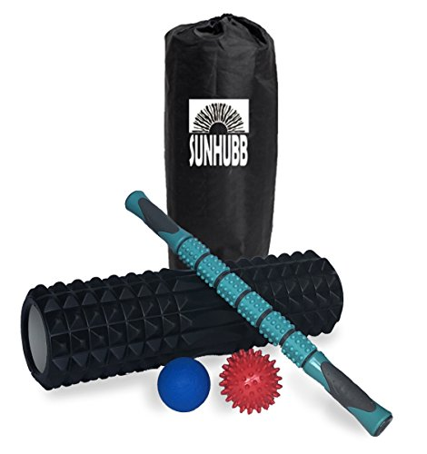 SunHubb Foam Roller Set Kit Includes High Density Foam Roller,Muscle Roller Stick,Lacrosse & Spiky Balls & Carrying Bag-Physical Therapy,Deep Tissue,Pain Relief,Myofascial Release,Self Massage Yoga by SunHubb
