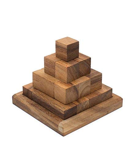 (Block Pyramid: Handmade & Organic 3D Brain Teaser Wooden Puzzle for Adults from SiamMandalay with SM Gift Box(Pictured))