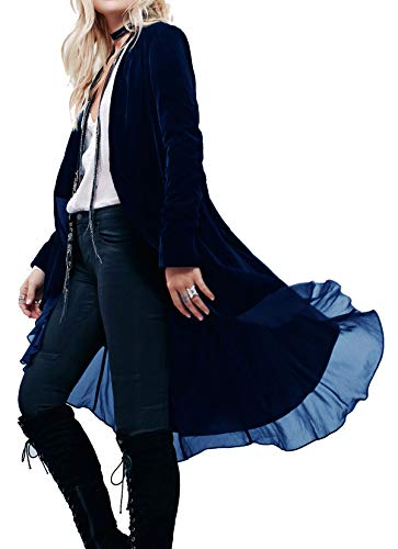 (R.Vivimos Womens Ruffled Asymmetric Long Velvet Blazers Coat Casual Jackets (Large, Navy)