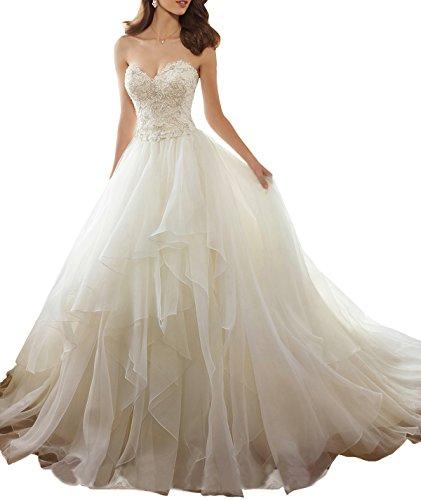 Nicefashion Women's Vintage Strapless Lace Organza Beach Wedding Dresses Ivory US10