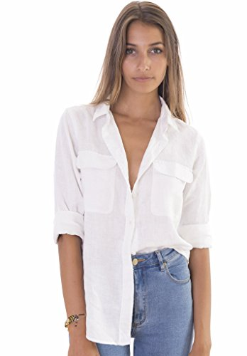 CAMIXA Women's Linen Button-Down Two Pockets Shirt Go Casual Chic XXL Snow White (Linen Blouse White)