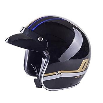 RS-V06 Casco Jet Motocicleta Bicicleta Tourer Cascos Abiertos de Moto Azul Moderno M(