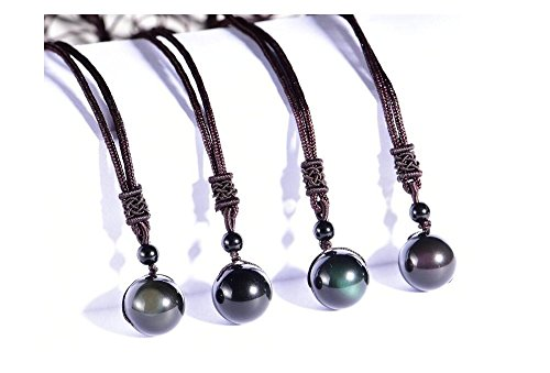 Natural+Black+Obsidian+Necklace+Rainbow+Eye+Pendant%2C+16mm+Lucky+Blessing+Wellness+Wealth+By+TSS