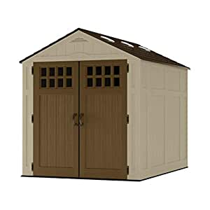 Suncast 6 x 8 Everett Vertical Storage Shed - Outdoor Storage for Backyard Tools and Accessories - All-Weather Resin Material, Transom Windows and ...