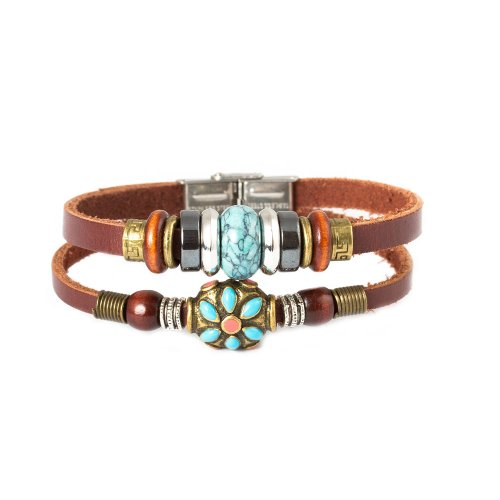 Tibet Coral Beads - FAIRY COUPLE Tibet Hand Crafted Coral Bead & Simulated Calaite Bead Leather Bracelet -19cm- L10