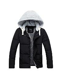 Ellove Fashion Men's Zipper Ski Suit Removable Hooded Outwear Button Jacket Coat