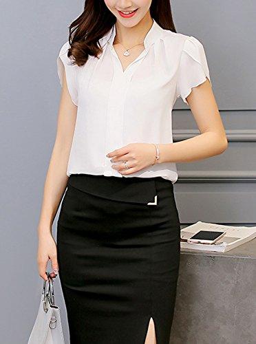 Femme Unie Manches Mousseline Couleur Col Courtes Hauts Chemisiers Blanc Fashion Casual V New Blouses Et Tops dvqnzI