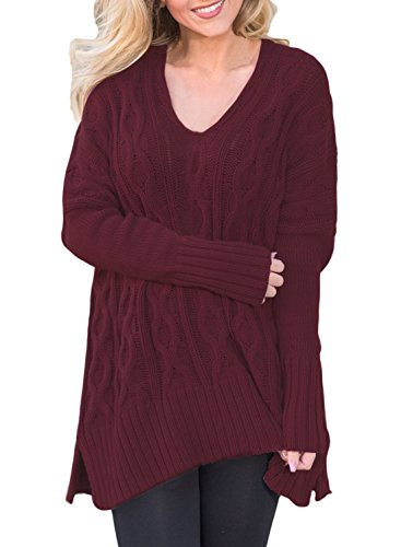 Womens Sweaters Oversized V Neck Long Sleeve Loose Cable Knit Pullover Tops Casual Tunic Jumper Shirts Solid Red L 12 14