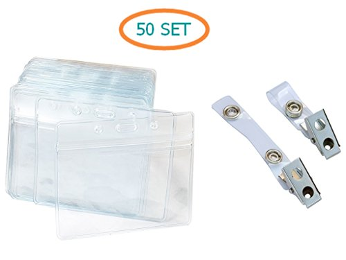 Tag Name Badge Holder Inserts (Aimtech Set of 50 Pcs Clear Plastic Horizontal Name Tag Badge Id Card Holders & Metal Id Badge Holder Clips with PVC Straps (Aimt1526))