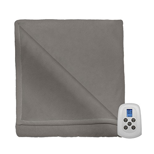 Serta Brushed Microfleece Electric Heated Blanket with Programmable Digital Controller, Queen Size, Beige