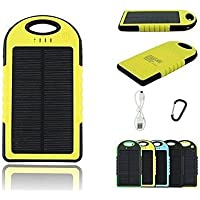 Shalleen 300000mAh Portable Waterproof Solar Charger Dual USB External Battery Power Bank (yellow)