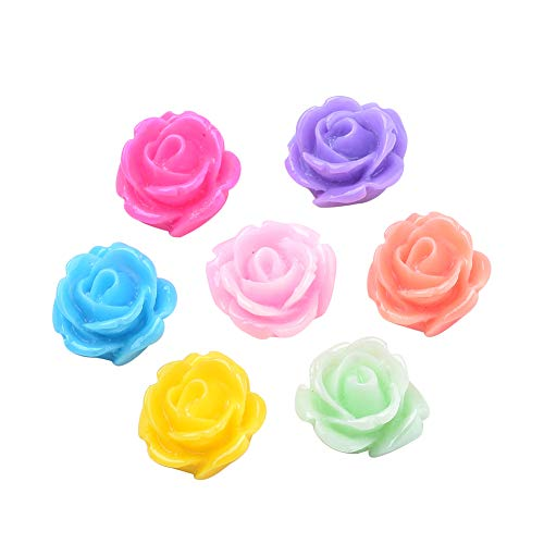(ARRICRAFT 200pcs Resin Rose Flower Cabochons Flat Back Flower Beads Cabochon Decoration for Craft Scarpbooking Jewelry Making)