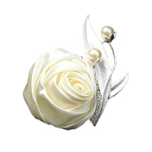 Jackcsale Boutonniere Bridegroom Groom Men's Boutonniere Boutineer with Pin for Wedding, Prom, Homecoming Creamy 1 Piece 64