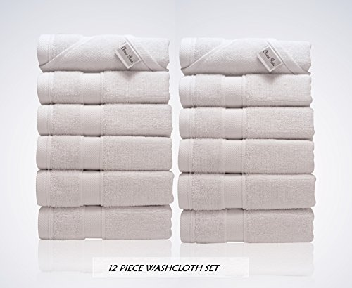 Lint Free 12 Piece Turkish Washcloths Bundles Set Face Bath Sport Multi-Purpose Fingertip Towel Clearance Prime (Bulk Pack of 12) 700 GSM Quick Dry Off Premium Cotton, Designer 2018 Collection White