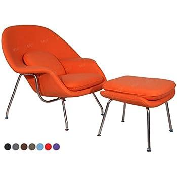 MLF® Eero Saarinen Womb Lounge Chair and Ottman, Premium Cashmere (Orange) (8 Colors)