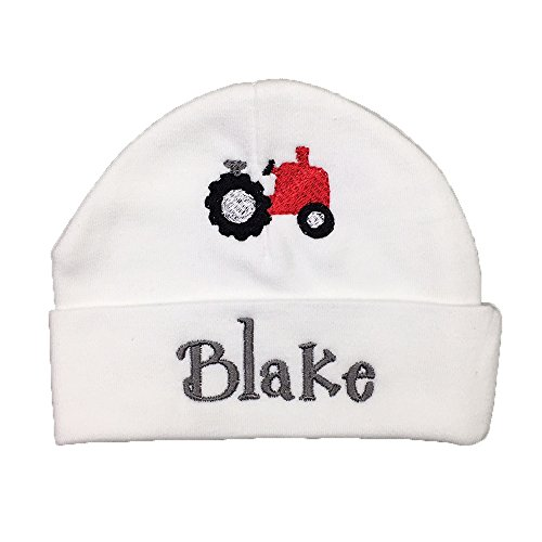 (Personalized Baby hat with Embroidered Tractor, Custom Preemie hat, Custom Newborn hat, Custom, Baby boy hat Baby Girl hat)
